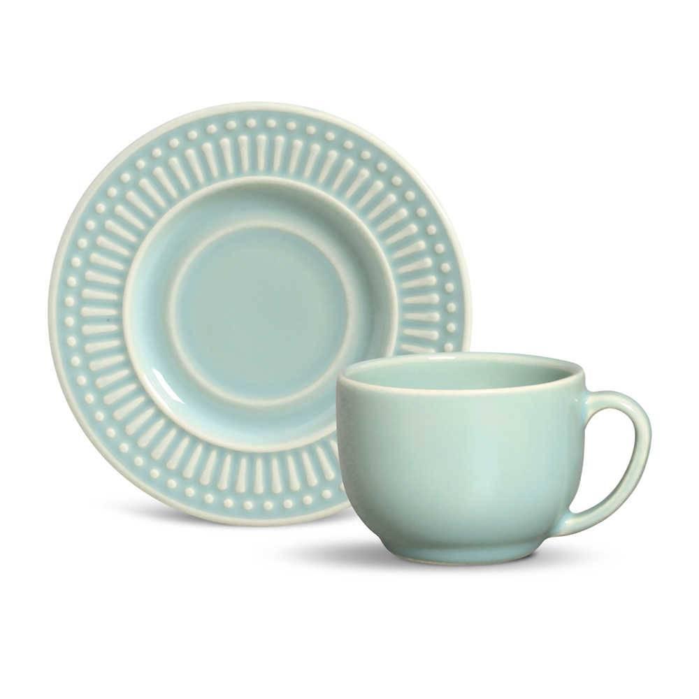 Conjunto 6 Xícaras para Chá com Pires Roma Verde - em Cerâmica - La Tavola - Porto Brasil - 14x10,5 cm