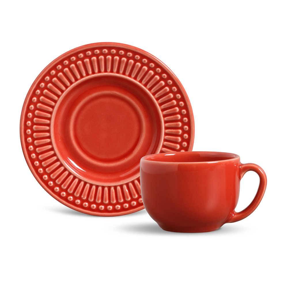 Conjunto 6 Xícaras para Chá com Pires Roma Vermelho - em Cerâmica - La Tavola - Porto Brasil - 14x10,5 cm