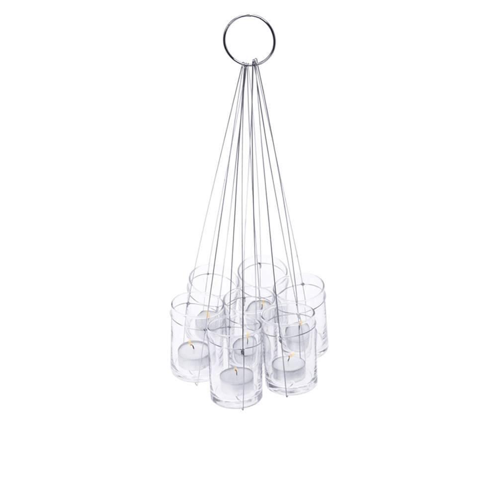 Conjunto Com 7 Castiçais Hanging Bunble Transparente em Vidro - Urban - 46x25 cm