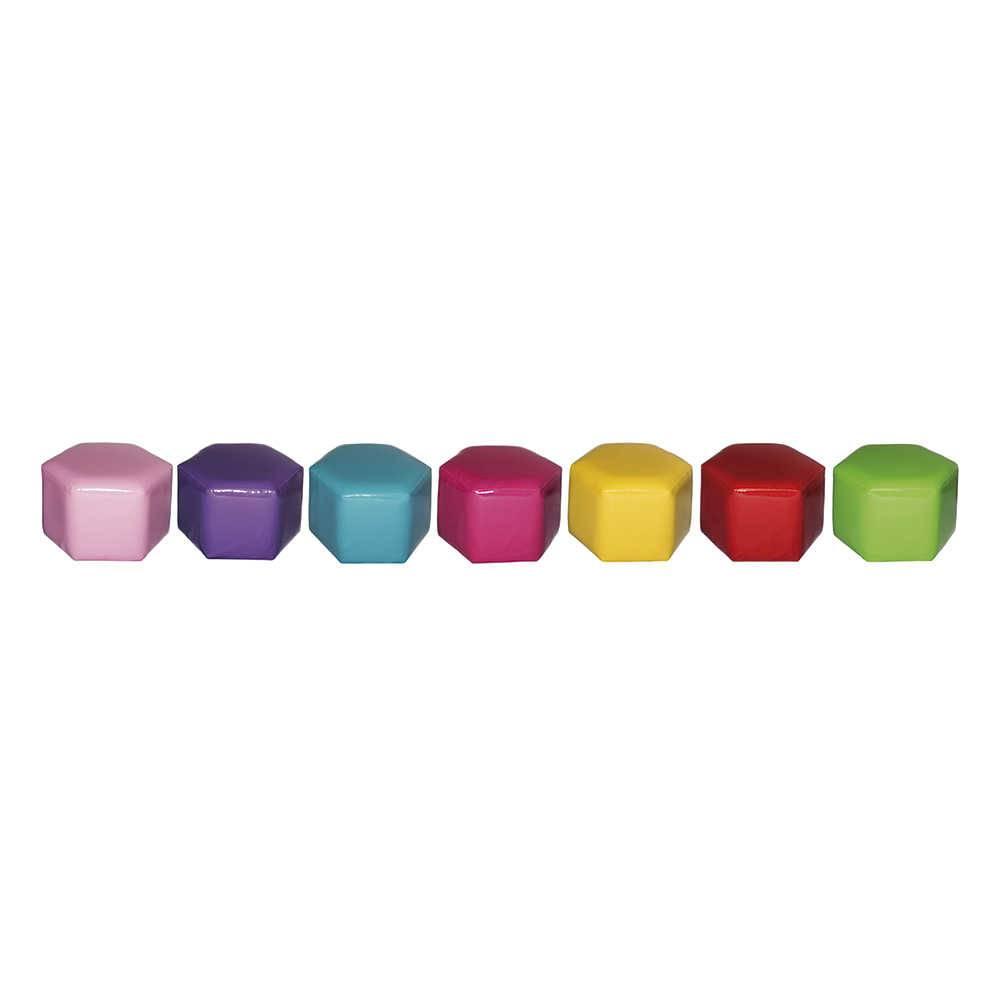 Conjunto 7 Puffs Infantis Colmeia Coloridos em PVC - Urban - 30,5x27 cm