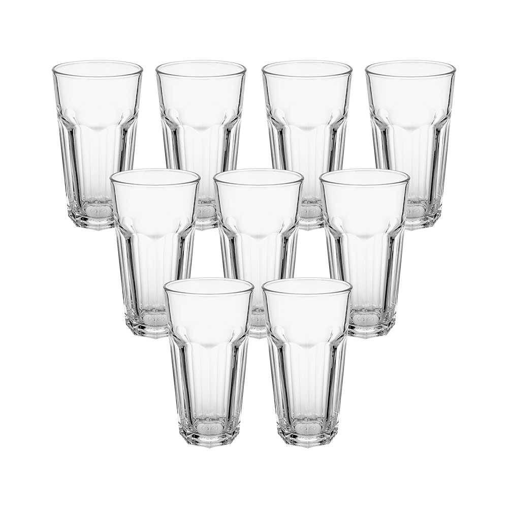 Conjunto 9 Copos Casablanca Transparente 365 ml em Vidro - Pasabahce - 15,3x8 cm