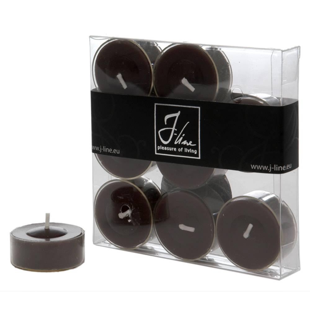 Conjunto 9 Velas Redondas Pretas - Duração de 4 Horas - em Parafina - 12 cm
