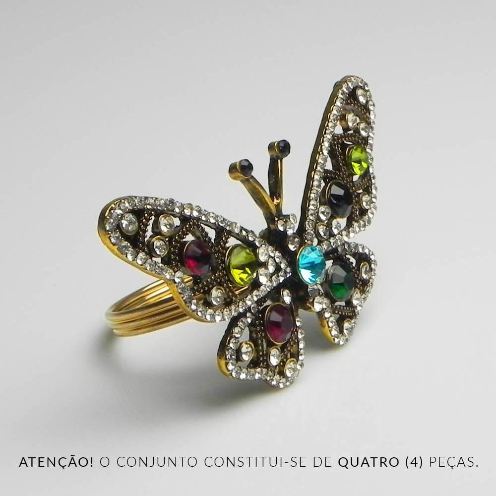 Conjunto Anéis para Guardanapo Borboleta - 4 Peças - com Pedra - Prestige