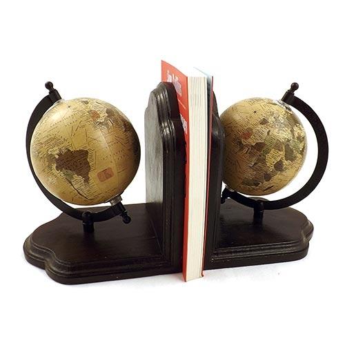 Aparador de Livros Globo Bege Rústico Oldway em Madeira - 20x18 cm