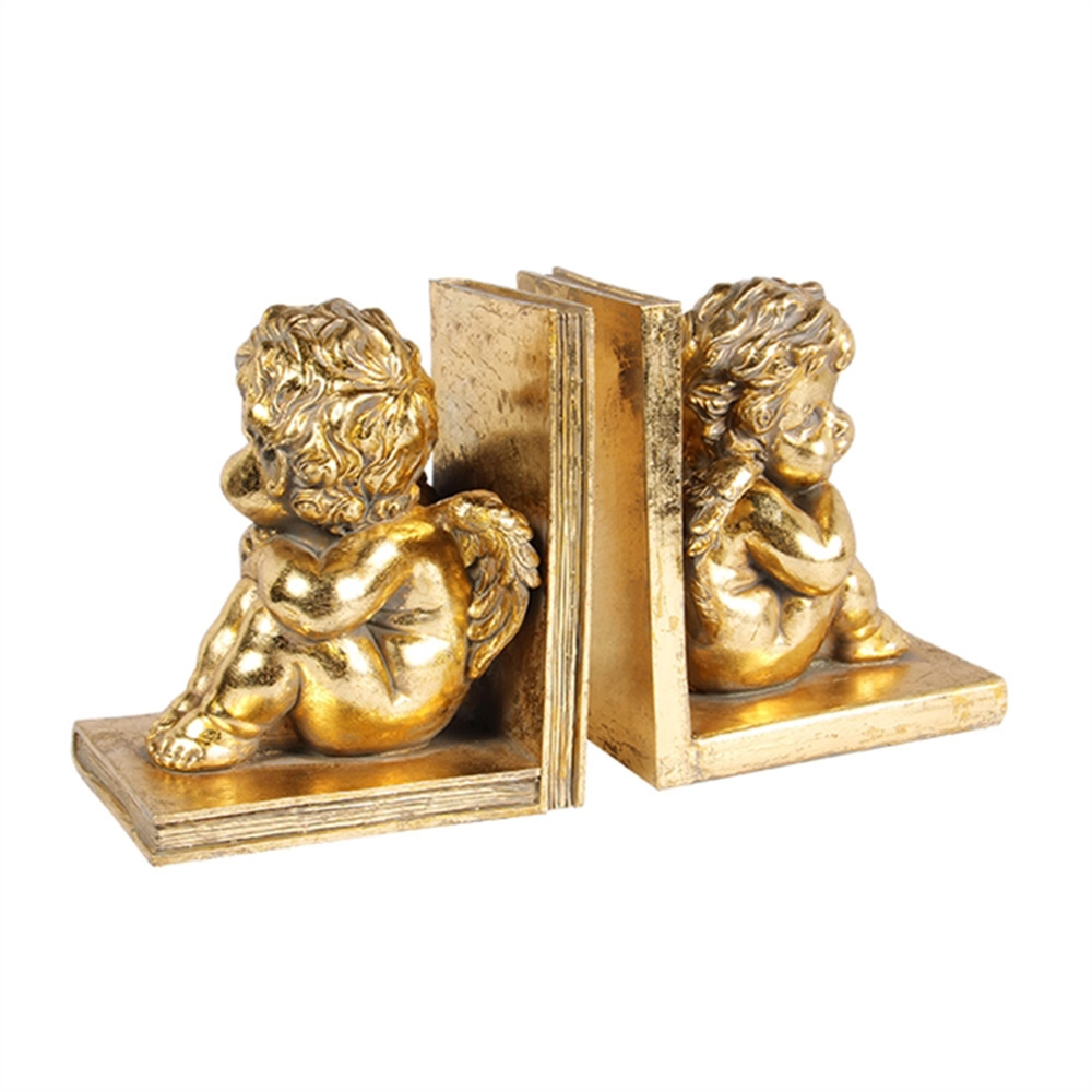 Aparador de Livro - 2 Peças - Anjinhos Dourados em Resina - 23x17 cm