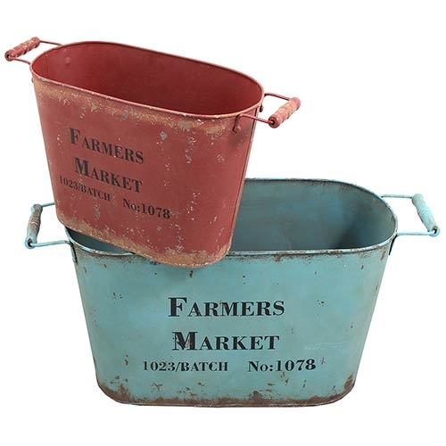 Conjunto de Bacias Farm Mark Blue/Red Oldway - 31x68x26cm