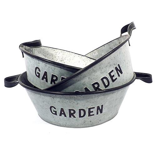 Conjunto de Bacias em Metal Garden Greenway - 49x17 cm