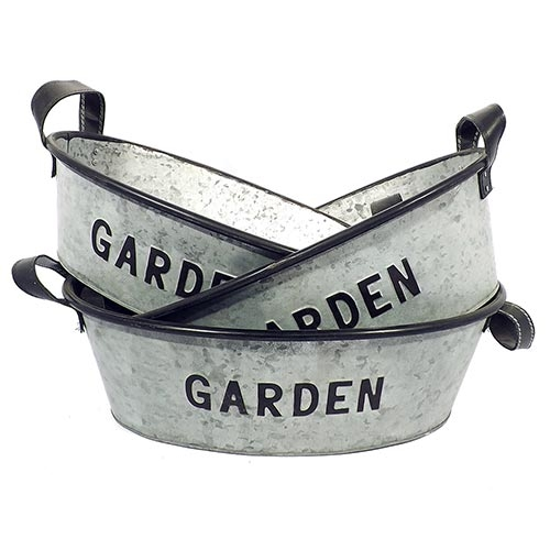 Conjunto de Bacias Oval em Metal Garden Greenway - 48x16 cm