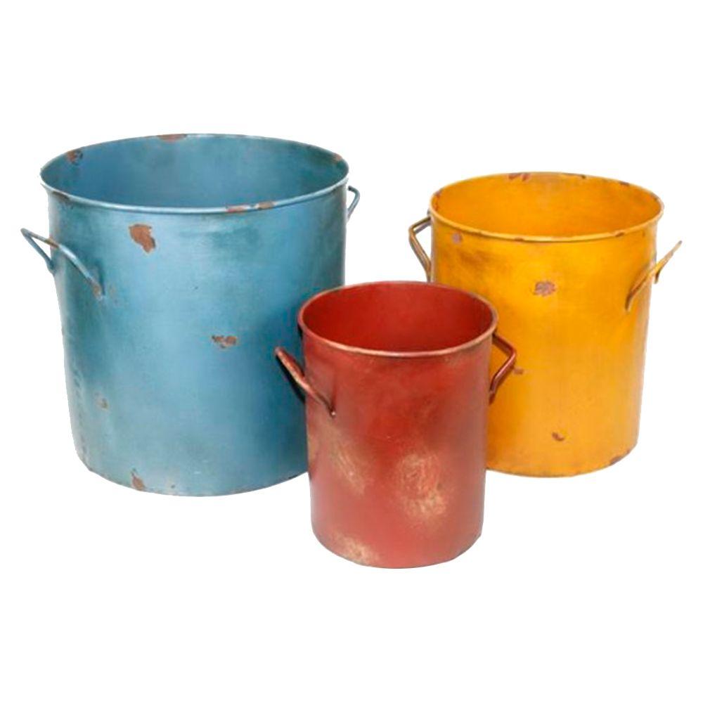 Conjunto de Baldes Coloridos - 3 Peças - em Ferro - 38x33 cm