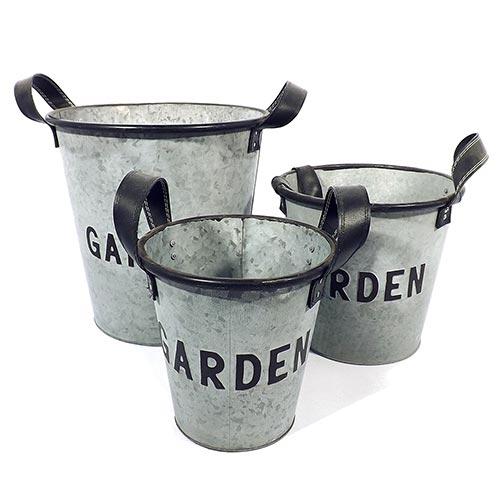 Conjunto de Baldes Garden em Metal  Greenway - 30x30 cm