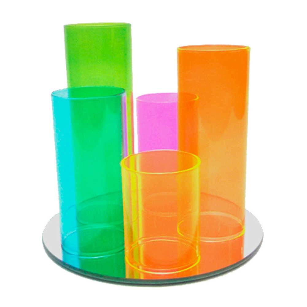 Conjunto Bandeja e 5 Copos Multicoloridos em Vidro - Urban 28,5x20 cm