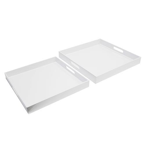 Conjunto de Bandejas - 2 Peças - Branco em Laca - 40x40 cm