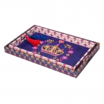 Conjunto de Bandejas Coloridas - 2 Peças - Realeza Coroa em Laca - 48x32 cm