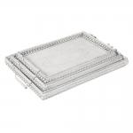 Conjunto de Bandejas - 3 Peças - Provençais Retangulares Brancas em Metal - 52x32 cm