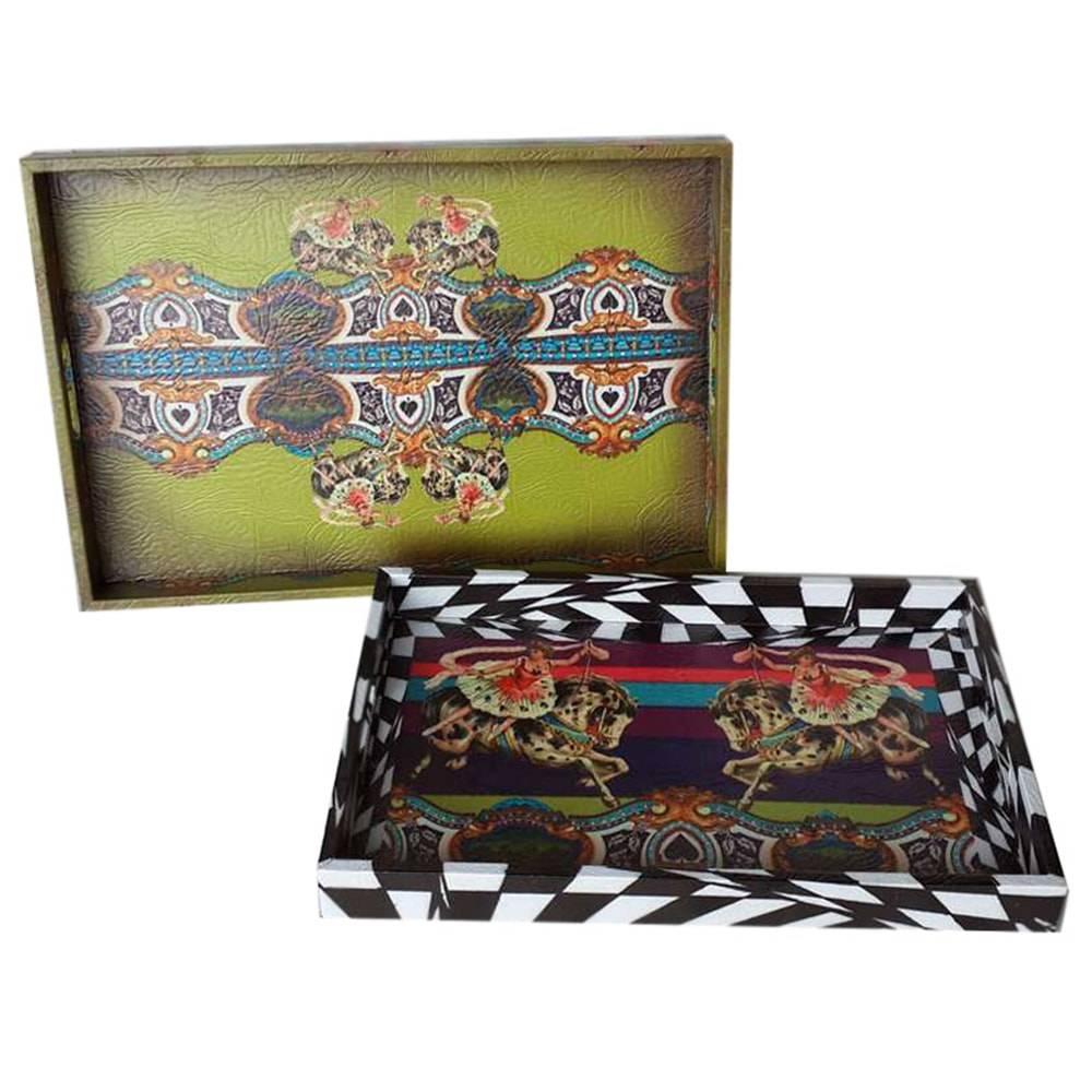 Conjunto de Bandejas Abracadabra - 2 Peças - Coloridas em Madeira - 32x20 cm