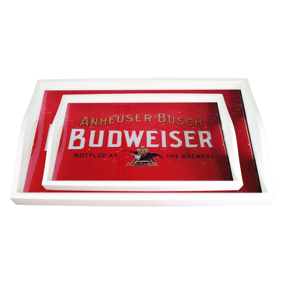 Conjunto de Bandejas Antique Budweiser - 2 Peças - em MDF - 38x24 cm
