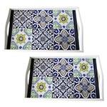Conjunto de Bandejas Azulejos em MDF e Fundo de Vidro - 2 peças - 38x24 cm