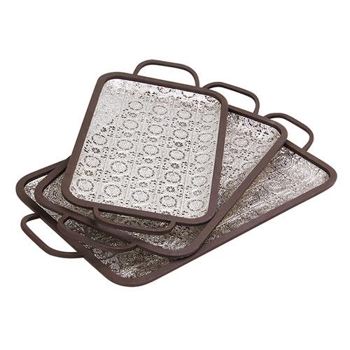 Conjunto Bandejas Bali Retangular com 3 em Metal - 57x34 cm
