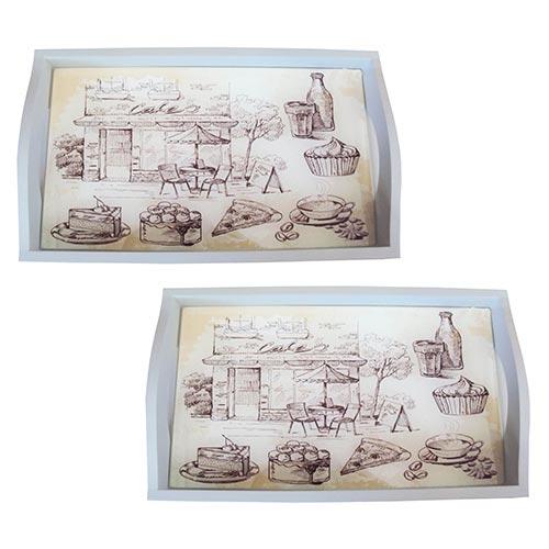 Conjunto de Bandejas Bar e Café em MDF e Fundo de Vidro - 2 peças - 38x24 cm