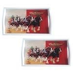 Conjunto de Bandejas Budweiser Clydesdales em MDF e Fundo de Vidro - 2 peças - 38x24 cm