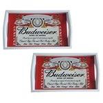 Conjunto de Bandejas Budweiser King Of Beers em MDF e Fundo de Vidro - 2 peças - 38x24 cm