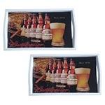 Conjunto de Bandejas Budweiser Since 1876 em MDF e Fundo de Vidro - 2 peças - 38x24 cm