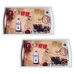 Conjunto de Bandejas Calhambeque em MDF e Fundo de Vidro - 2 peças - 38x24 cm
