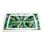 Conjunto de Bandejas Cerveja Hei Hei Heineken Verde - 2 Peças - em MDF - 38x24 cm