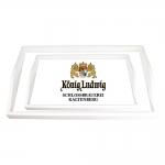Conjunto de Bandejas Cerveja Konig Ludwig Brancas - 2 Peças - em MDF - 38x24 cm