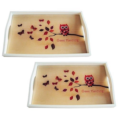 Conjunto de Bandejas Coruja Good Morning em MDF e Fundo de Vidro - 2 peças - 38x24 cm
