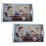 Conjunto de Bandejas Crianças na Vitrine em MDF e Fundo de Vidro - 2 peças - 38x24 cm