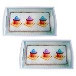 Conjunto de Bandejas Cupcakes Chocolate em MDF e Fundo de Vidro - 2 peças - 38x24 cm