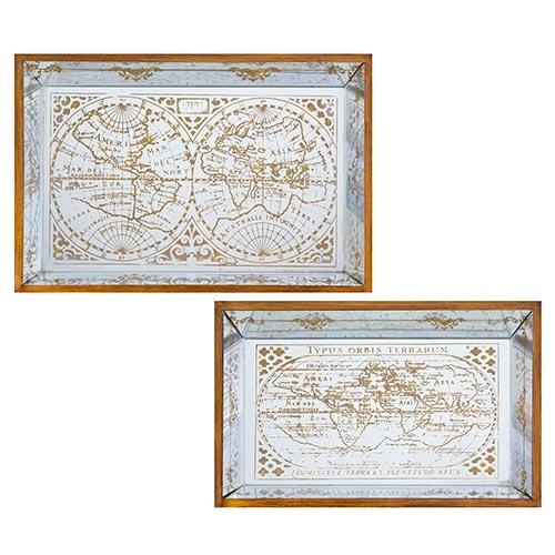 Conjunto de Bandejas Espelhadas Mapa Mundi Antique Oldway - 61x41 cm