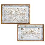 Conjunto de Bandejas Espelhadas Mapa Mundi Antique Oldway