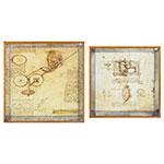 Conjunto de Bandejas Espelhadas Pergaminhos Oldway - 61x61 cm