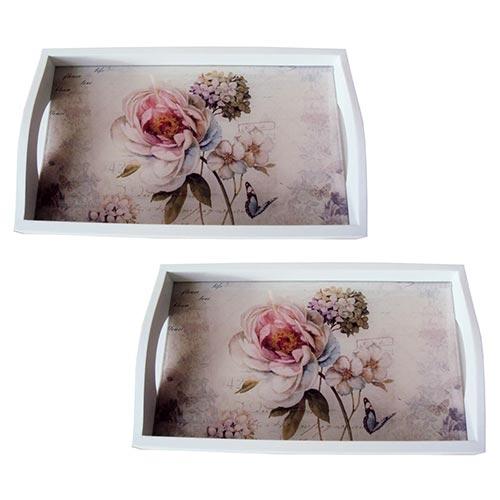 Conjunto de Bandejas Flor Hortência Rosa em MDF e Fundo de Vidro - 2 peças - 38x24 cm
