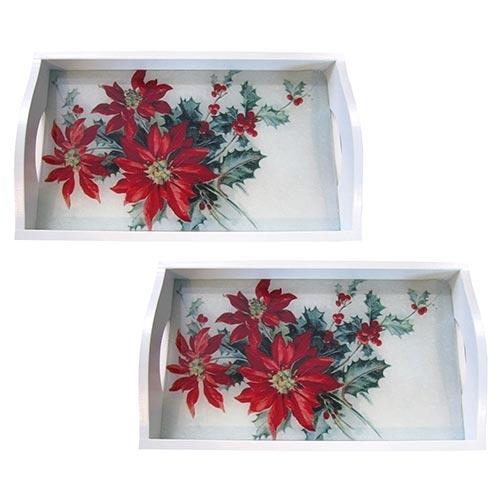 Conjunto de Bandejas Flor de Natal em MDF e Fundo de Vidro - 2 peças - 38x24 cm