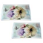 Conjunto de Bandejas Flores Vintage em MDF e Fundo de Vidro - 2 peças - 38x24 cm