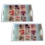Conjunto de Bandejas Frutos do Mar em MDF e Fundo de Vidro - 2 peças - 38x24 cm