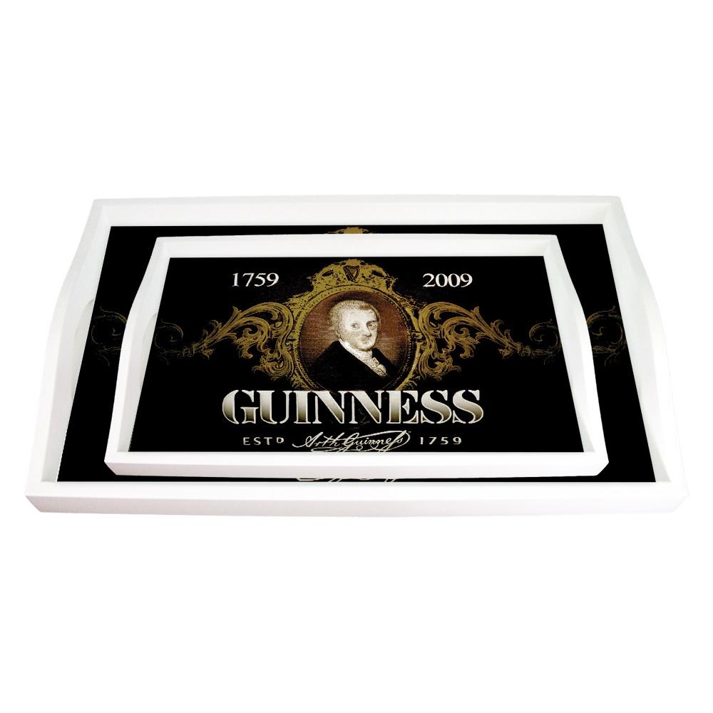 Conjunto de Bandejas Guinness Preta - 2 Peças - em MDF - 38x24 cm