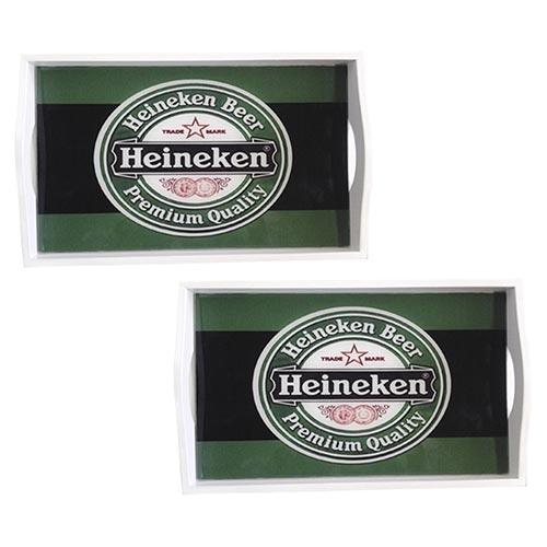 Conjunto de Bandejas Heineken Beer em MDF e Fundo de Vidro - 2 peças - 38x24 cm