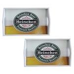 Conjunto de Bandejas Heineken Chopp em MDF e Fundo de Vidro - 2 peças - 38x24 cm