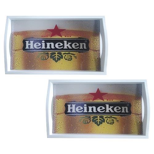 Conjunto de Bandejas Heineken em MDF e Fundo de Vidro - 2 peças - 38x24 cm