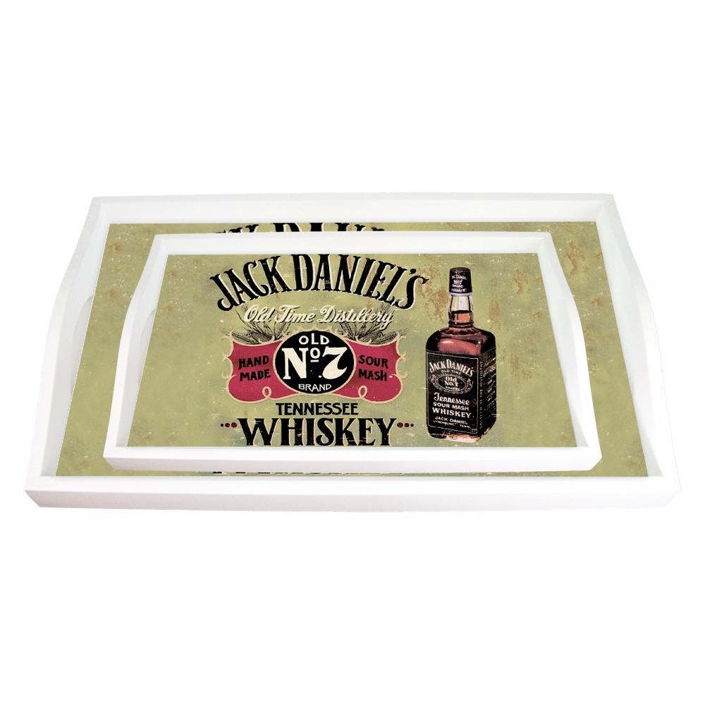 Conjunto de Bandejas Jack Daniels Fundo Verde - 2 Peças - em MDF - 38x24 cm