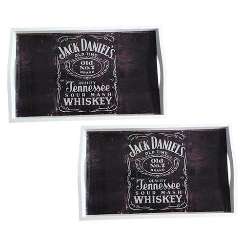 Conjunto de Bandejas Jack Daniels em MDF e Fundo de Vidro - 2 peças - 38x24 cm