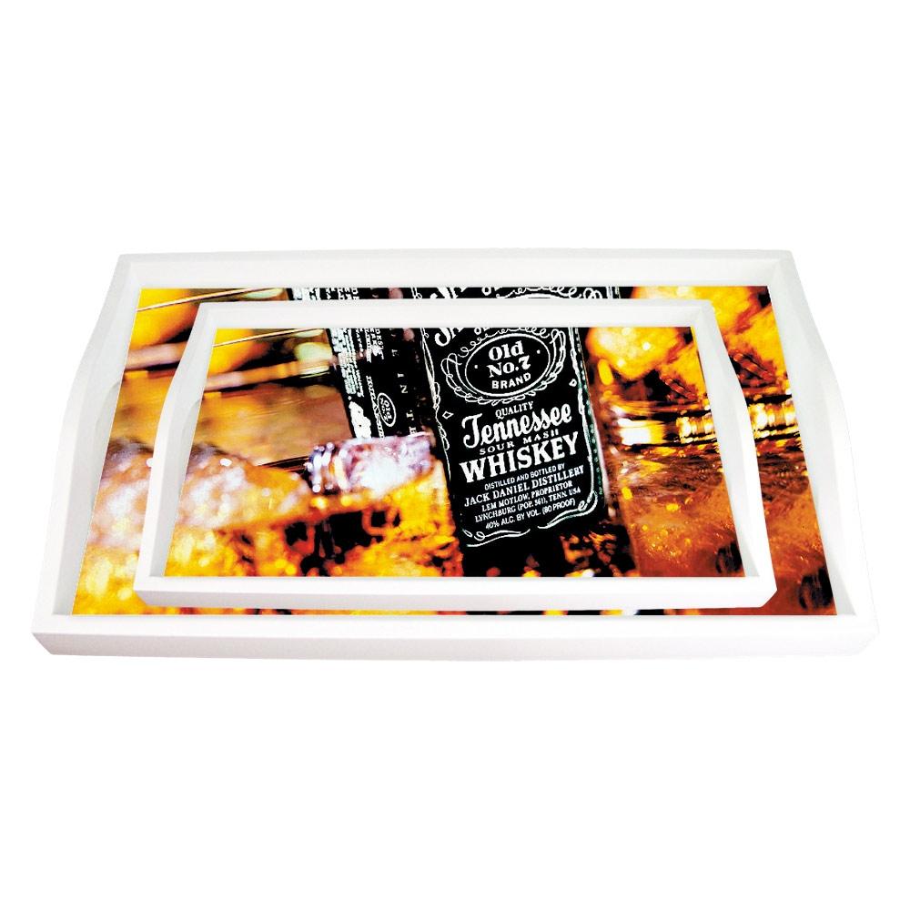 Conjunto de Bandejas Jack Daniels Whisky Marrom - 2 Peças - em MDF - 38x24 cm