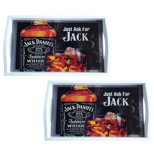 Conjunto de Bandejas Just Ask For Jack Daniels em MDF e Fundo de Vidro - 2 peças - 38x24 cm
