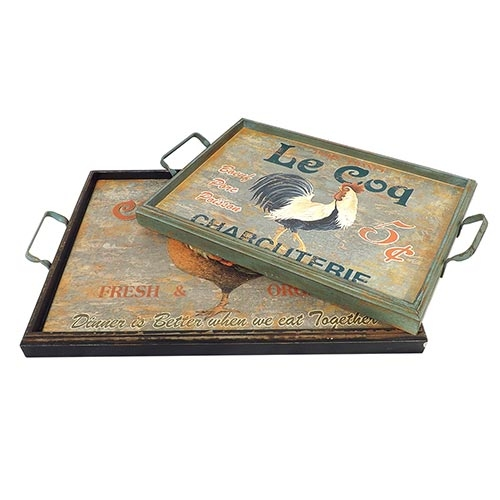 Conjunto de Bandejas Kitchen Galos Oldway - 2 peças - Madeira e Metal - 61x41 cm