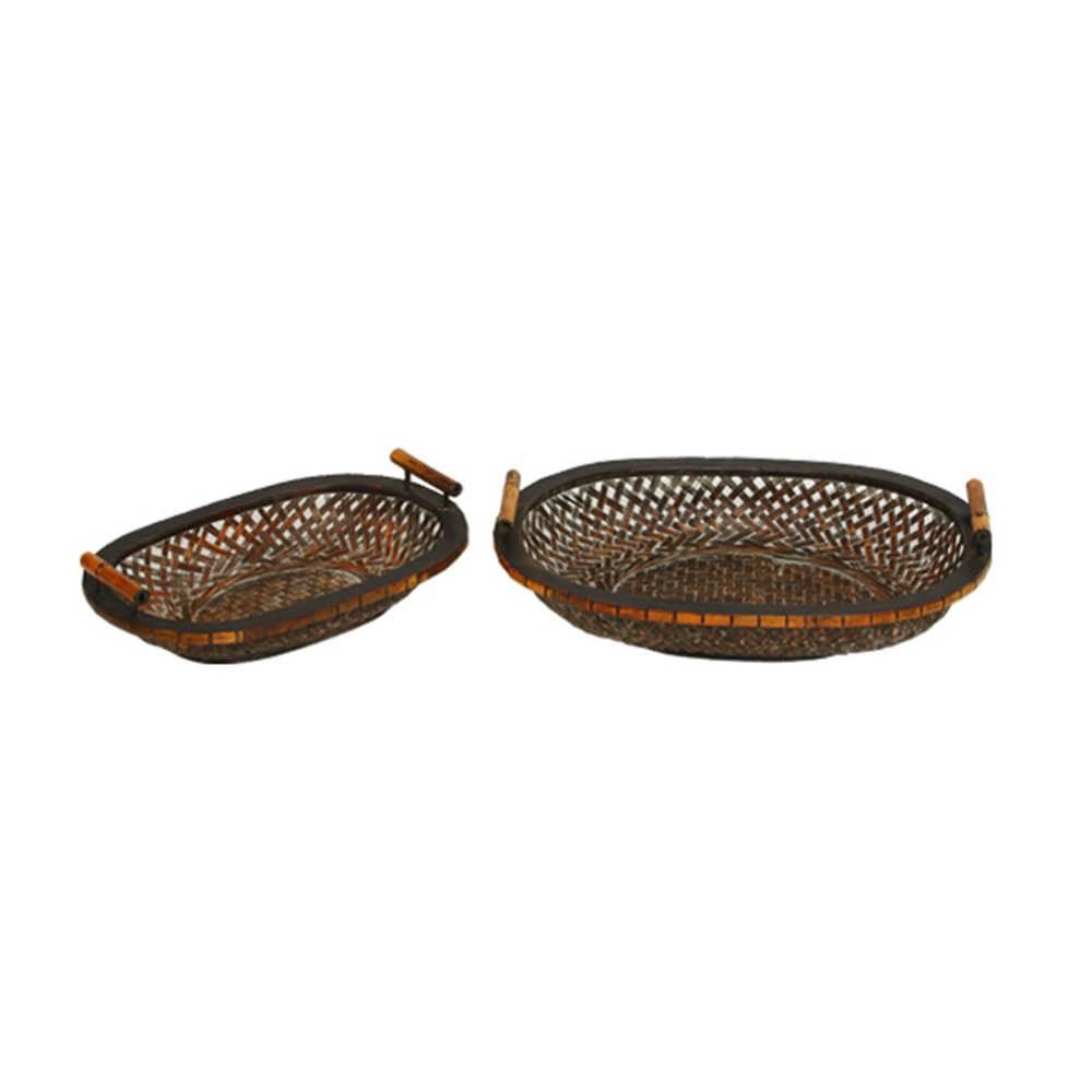 Conjunto de Bandejas Laster - 2 Peças em Bambu - 51x37 cm