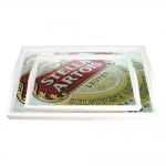 Conjunto de Bandejas Logotipo Cerveja Stella Artois - 2 Peças - em MDF - 38x24 cm